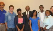 Ambassador John Estrada with Gregory Sloane-Seale, Miquel Galofre, Isis Gairy, Sherise Jones, Ateion Jones, Gilline Mc Dowel and Charlotte Elias